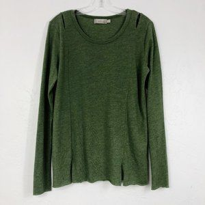 ! Nation LTD Green Long Sleeve Cut Out Shirt